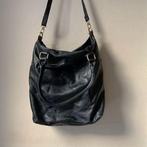Merona Black Faux Leather Hobo Shoulder Bag